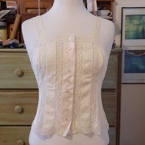 Vintage nylon & lace button up camisole GB1